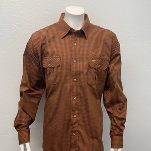 King Ranch Western Red Brown Plaid Shirt Leather Look Elbow Patches LS Shirt XL